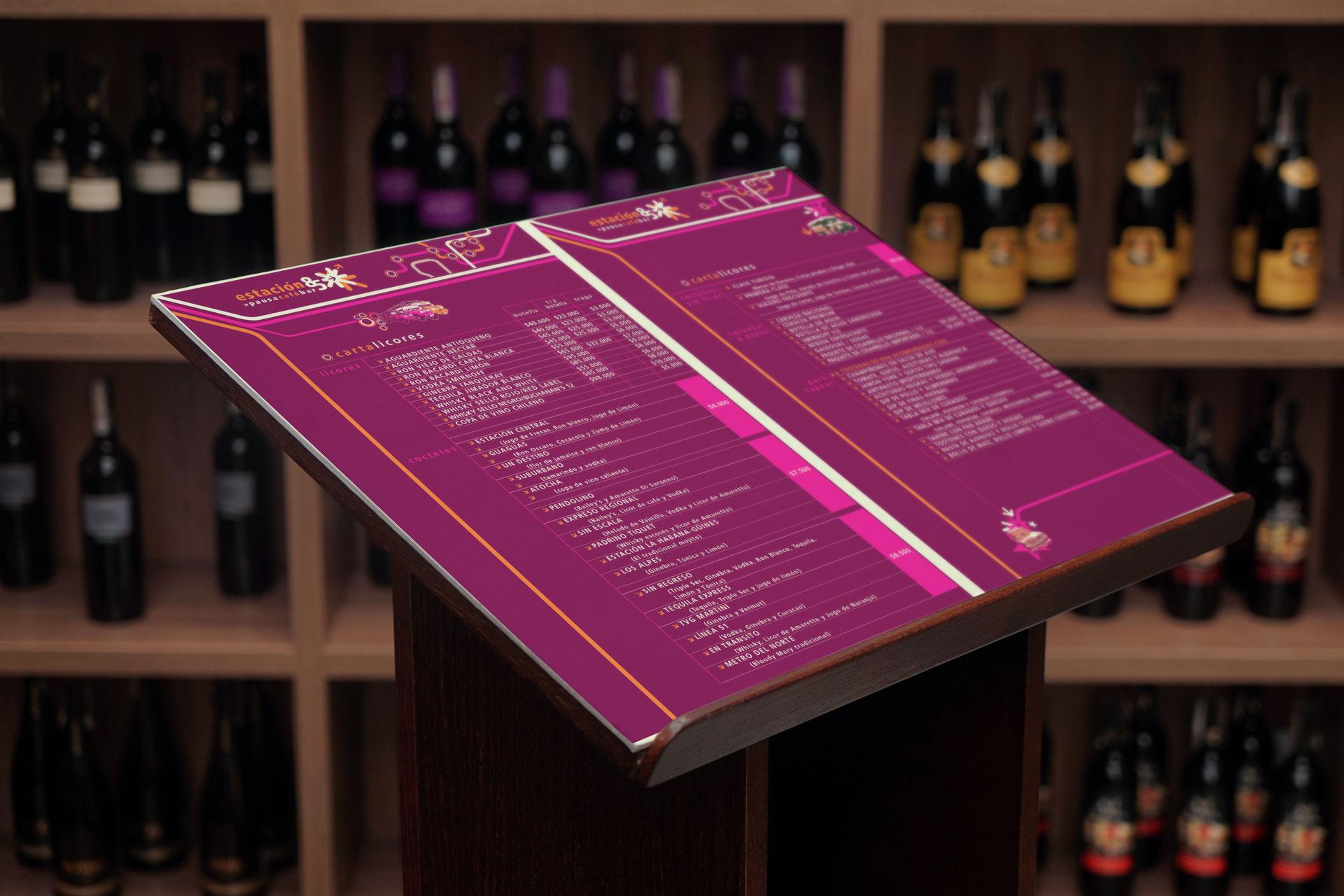 Diseño Carta de Licores Logotipo Fachada Restaurante Cafe Estación 85