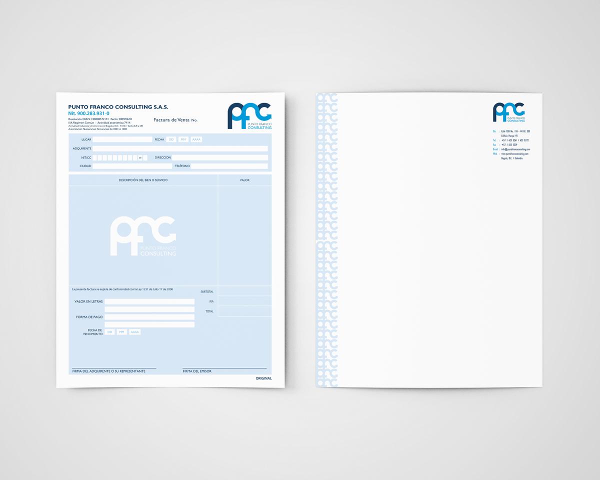 Diseño de Factura y Hoja Carta Identidad Visual y Logotipo para la marca Punto Franco Consulting