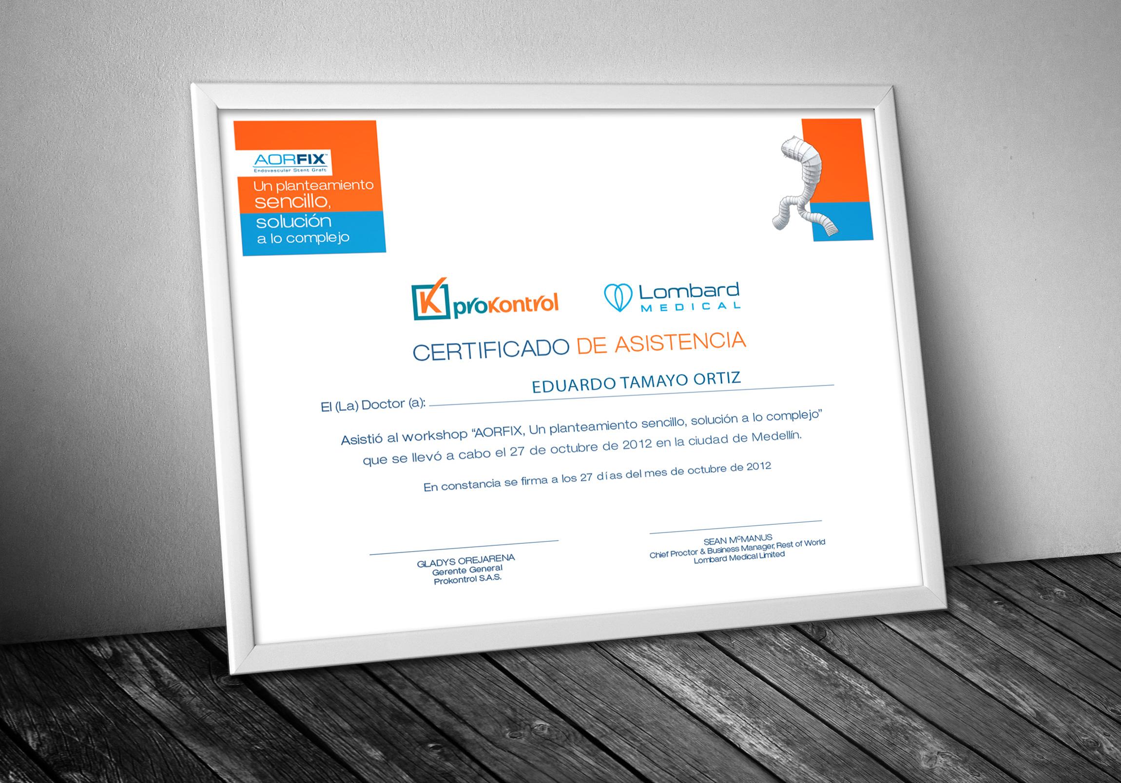 Diploma de Certificación Asistencia Curso Actualización Aorfix Prokontrol