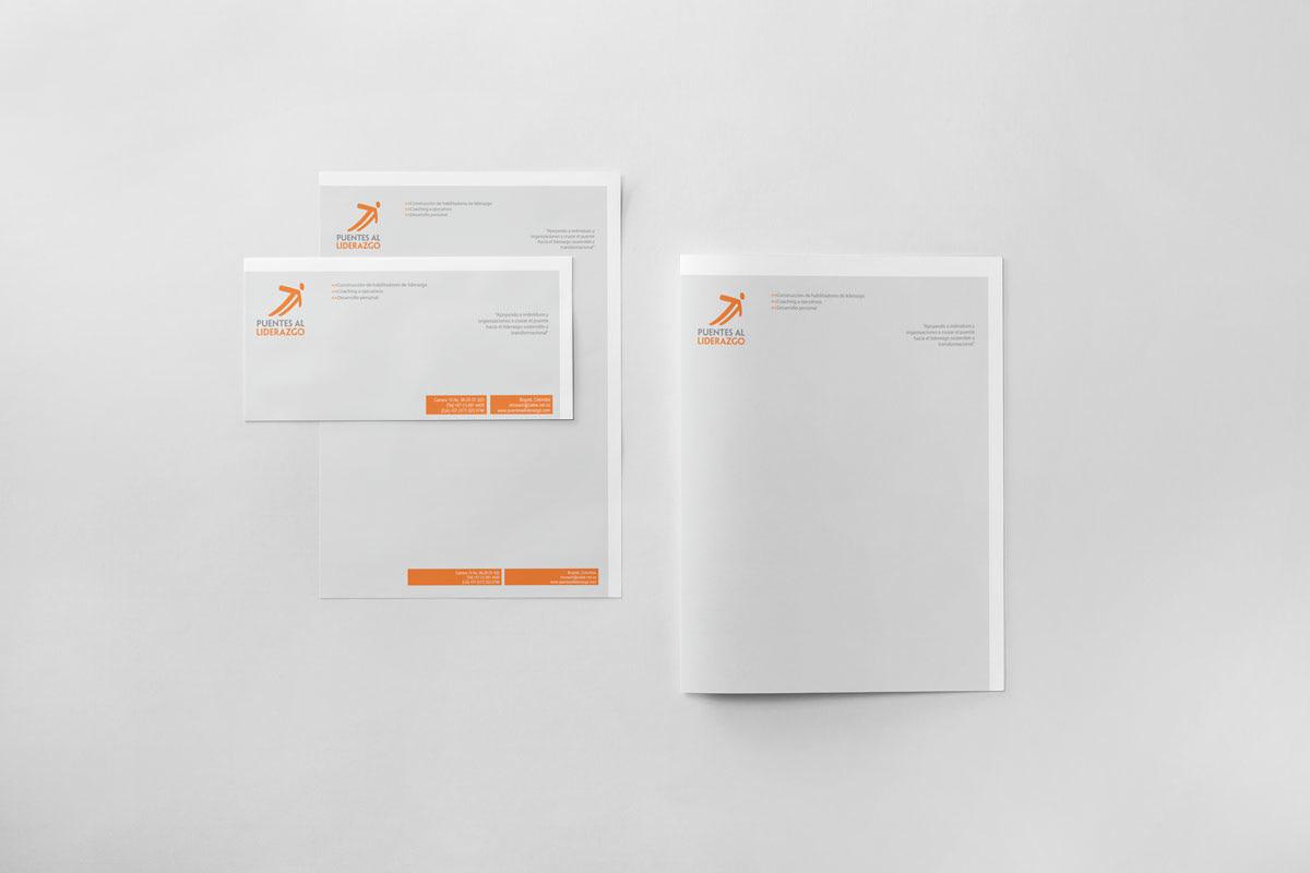 Diseño de Papelería para empresa de coaching Puentes al Liderazgo