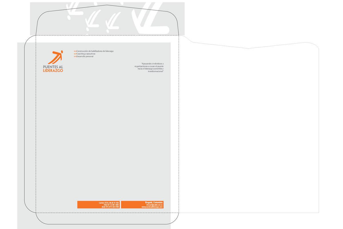 Diseño de Sobre para empresa de coaching Puentes al Liderazgo