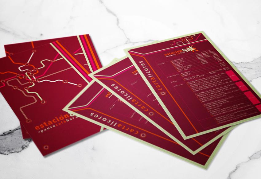 Diseño Carta de Licores para Café Restaurante Cafe Estación 85
