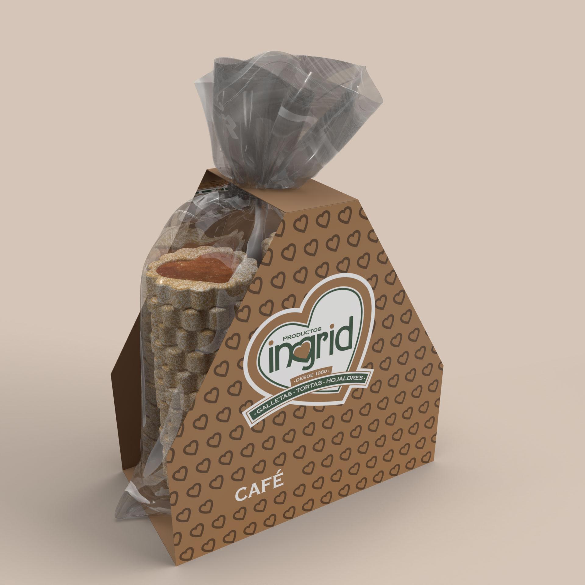 Bolsa galletas y plegadizo en cartón Productos Ingrid Opcion 2