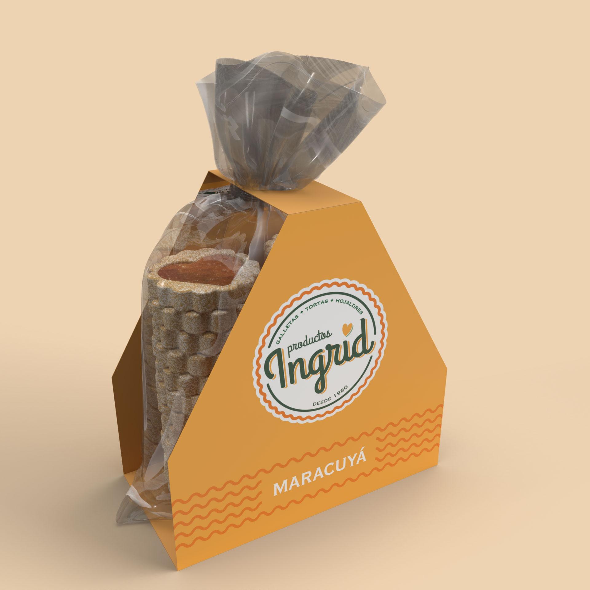 Bolsa galletas y plegadizo en cartón Productos Ingrid Opcion 3