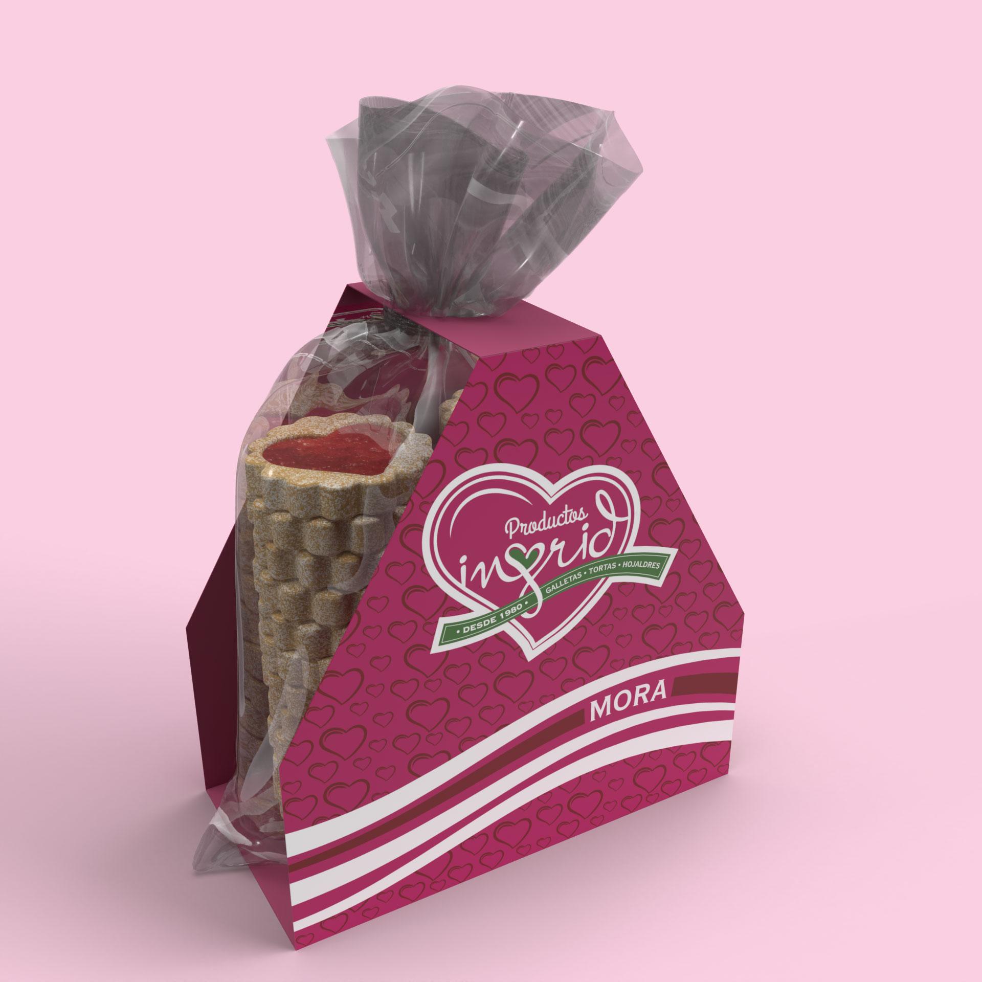 Bolsa galletas y plegadizo en cartón Productos Ingrid Opcion 1