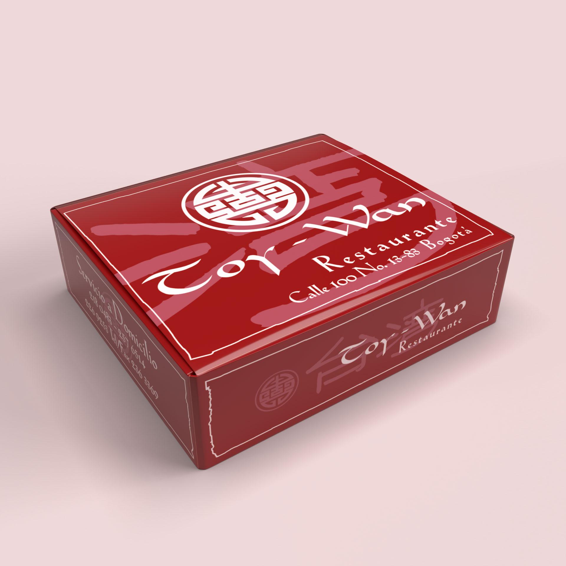 Diseño de caja para domicilios del Restaurante chino Toy Wan