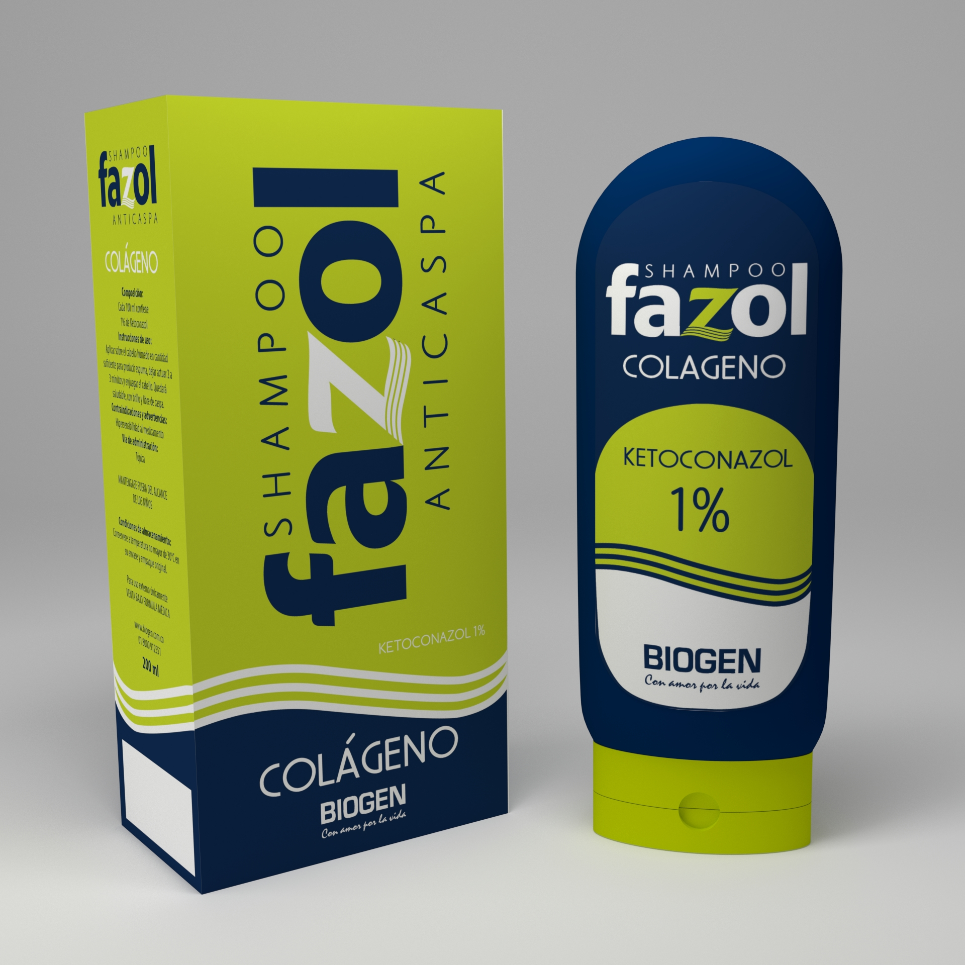 Diseño Caja y Etiqueta para shampoo anticaspa Fazol