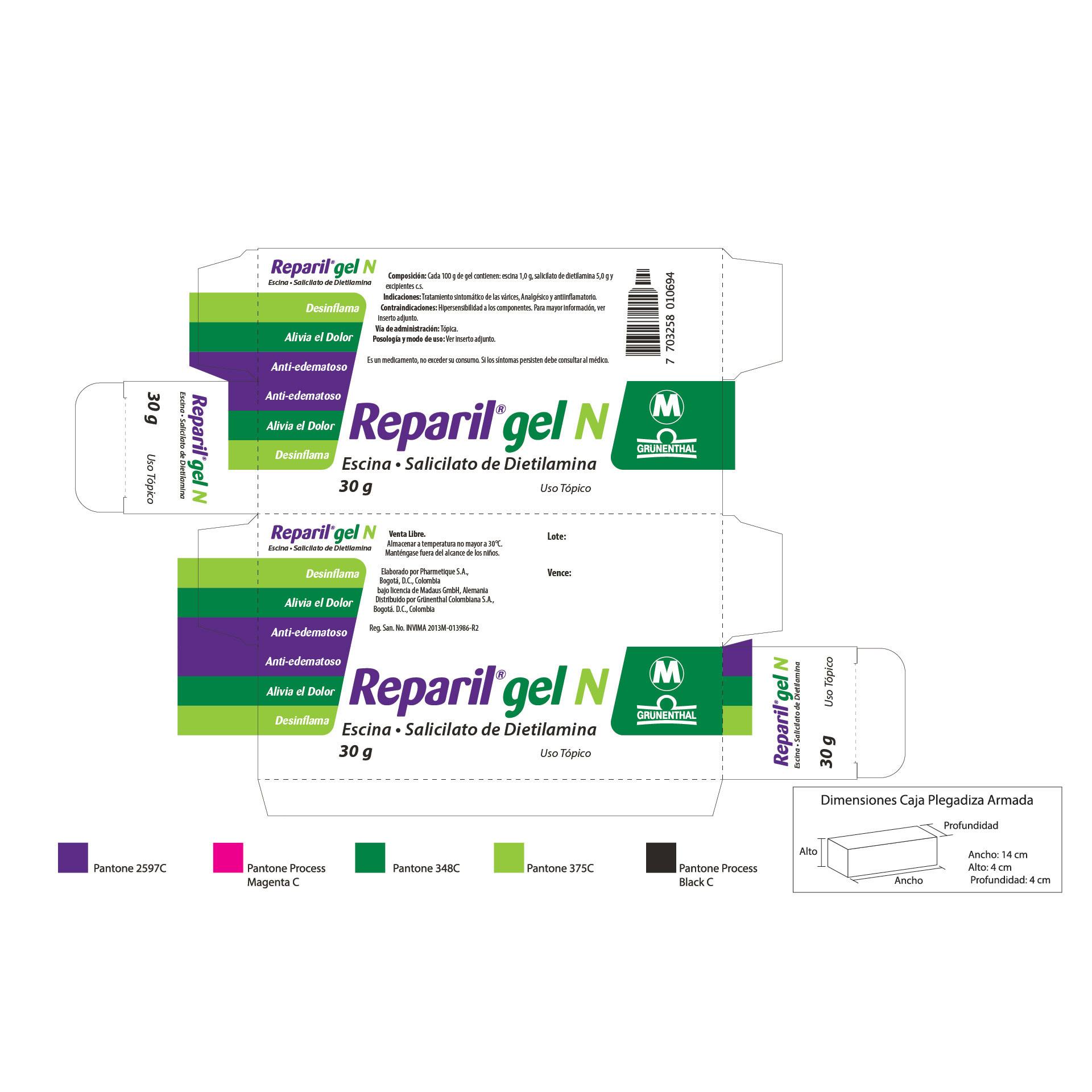 Diseño de Identidad Visual y Logotipo para la marca del medicamento Reparil de Grunenthal