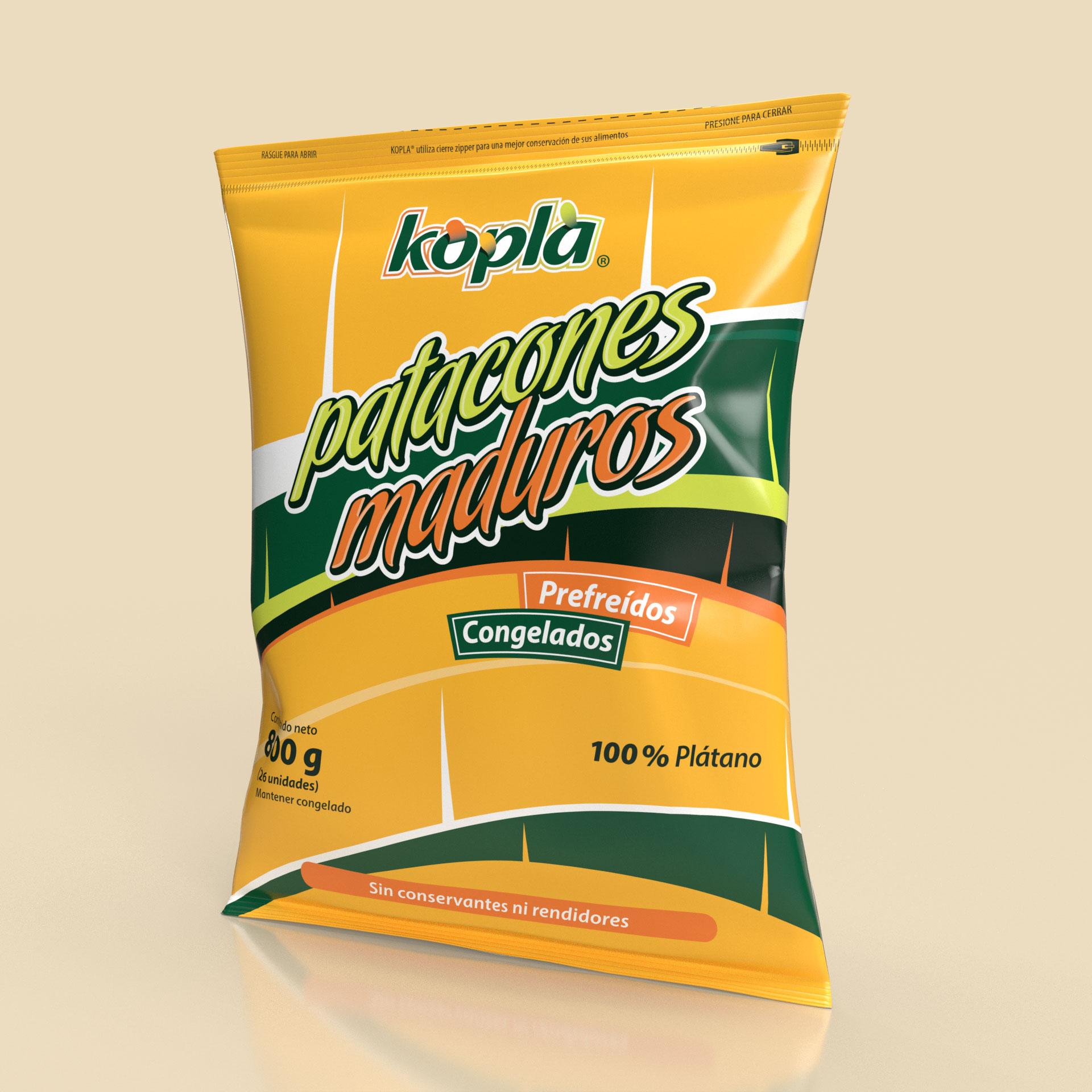 Empaque Patacones de Plátano Maduro Precocidos Congelados Productos Kopla