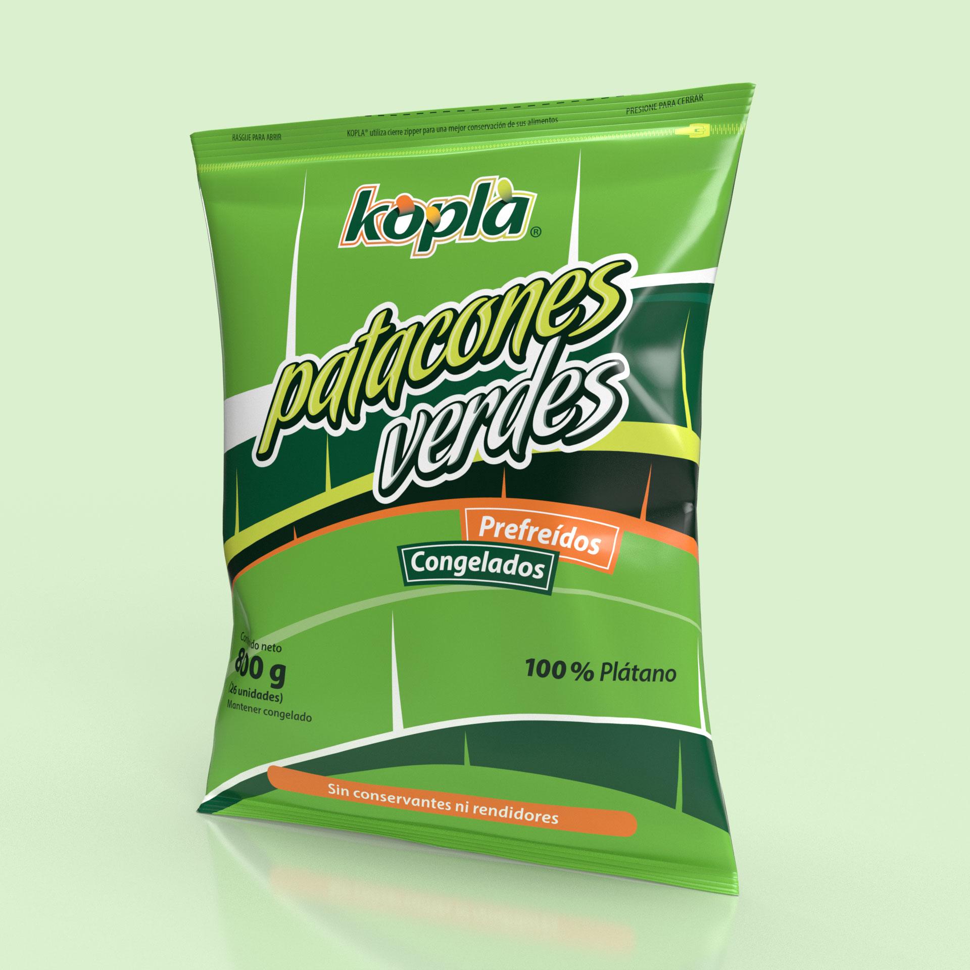 Empaque Patacones de Plátano Verde Precocidos Congelados Productos Kopla