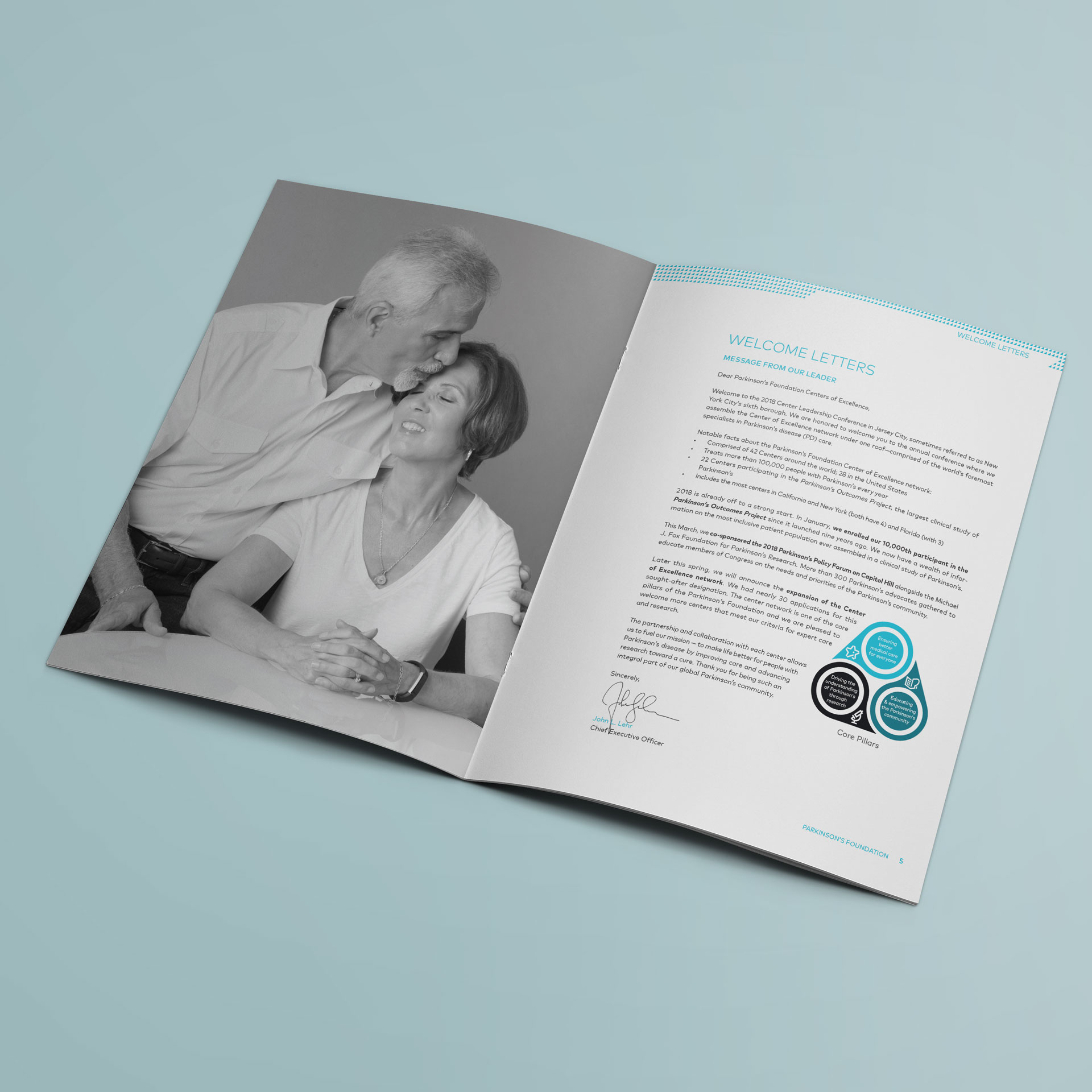 Diseño Editorial Documento Congreso Mundial Centros de Excelencia Parkinson's Foundation