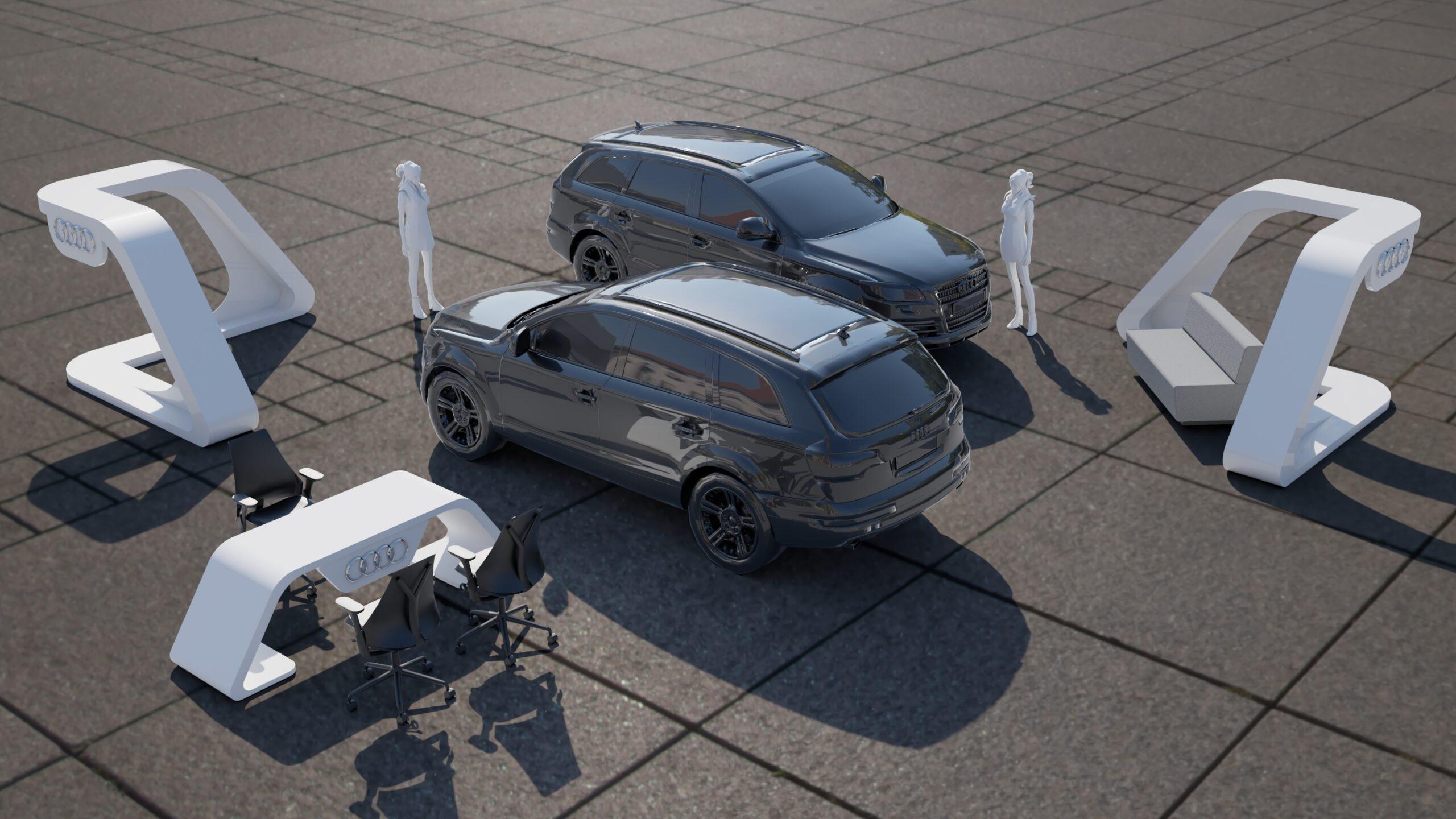 Sala de Exhibición y Venta de automóviles marca AUDI en áreas comunes de Centro Comercial